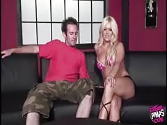 Elegant busty blonde fucks with a BBC in front her lovely cuckold Thumb