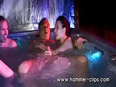 Two perverted young brunettes being fucked right in the pool Thumb