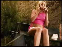 Young blondie with long beautiful legs in action Thumb