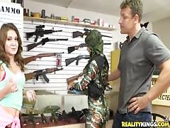 Sex for cash with two slutty teenager in the gun store Thumb