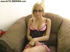Busty blonde is revealing her fetish addictions in the video by Alta Smoking Thumb