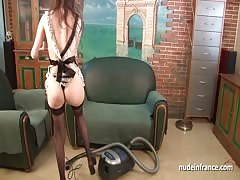 Young french maid hard anal pounded and facialized Thumb