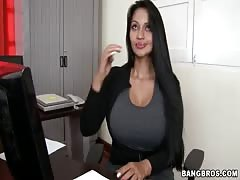 Black-haired office pervert slowly taking off her skirt Thumb