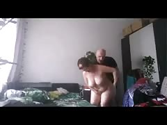 Bald man fucks a fatty busty woman in the doggy style Thumb