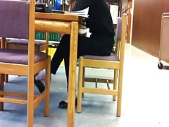Candid Asian Library Feet Shoeplay Flats Dangling Pt 1 Thumb