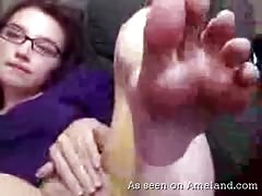 Nerdy tramp pokes her hot wide-opened hole with smile Thumb