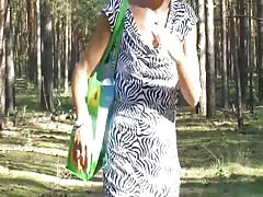 -Stim outdoor from BDSMARENA.NET ,Public flashing in wood, jerking off Thumb