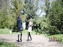 2 lesbian nude under burburry trench in crotchboots kissing Thumb