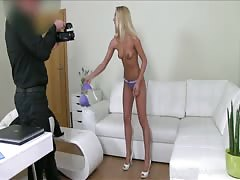 Tanned blonde is sucking interviewer's dick with innocent eyes Thumb