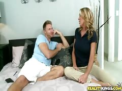 Skillful blonde being seduced and fucked by a Milf Hunter Thumb