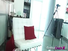 Small-tit casting girl is jumping on the dick in the video by Casting Couch X Thumb