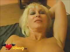 Busty blonde is moaning while feeling his hard cock Thumb