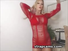 Amber Lynn flashing tits and toying pussy on Webcam Thumb