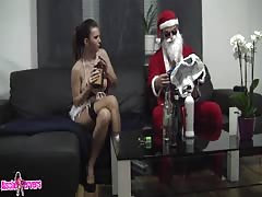 Horny Santa fucks hot brunette with amazingly big tits Thumb