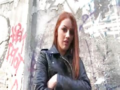 Elegant coed with red hair is being payed for an outdoor sex Thumb