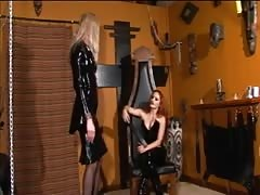 Redhead mistress spanks an ultra-tall skinny blonde Thumb