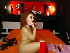 Sweet big-breasted redhead milf is playing with her dildo Thumb