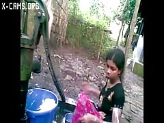 Bangla desi shameless village cousin-Nupur bathing outdoors (X-Cams.Org) Thumb