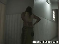 Truly massive black pipe covers a face of a Brazilian girl Thumb