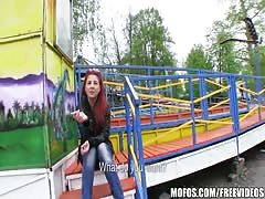 Sexy redhead amateur is fucked in a park for some cash Thumb
