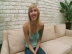 Teen blonde cutie flashing her tits at a porn movies audition Thumb