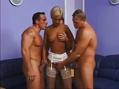 Cute and horny blonde MILF takes 3 cocks Thumb