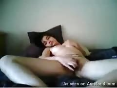Small-tit young trump penetrates her little hairy hole on cam Thumb