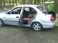 Blonde Russian teen anal in car and outside Thumb