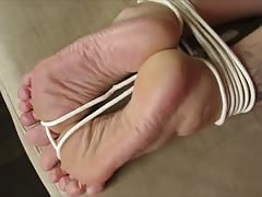 Tied, handcuffed, blindfolded and cummed soles. Thumb