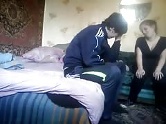 Sexy clothed russian girlfriend is giving a blowjob for her bf Thumb