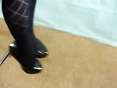 Dangling black patent heels and stockings 2 Thumb