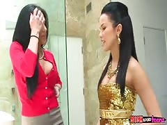 Stunning 3some action in bathroom with hottest sluts! Thumb