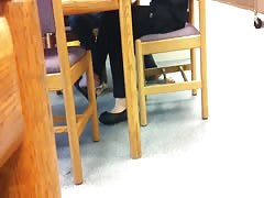 Candid Asian Library Shoeplay Feet Dangling Flats Pt 3 Thumb