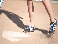 Ultra slender sporty blonde is posing in a baseball outfit Thumb