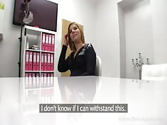 Hot blonde came here to show off her skills for Fake Agent Thumb