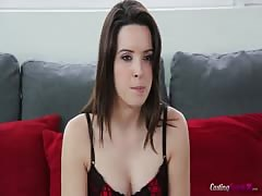 Innocent brunette with big tits is spreading her legs in front cam Thumb
