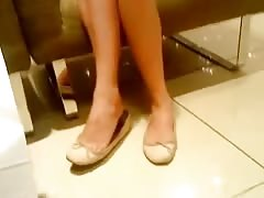Candid Ten Shoeplay Feet Legs in Flats Thumb