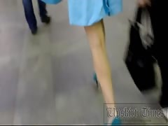 Upskirt on the stairs in the subway. Babe in blue shorts. Thumb