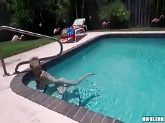 My ex slutty girl thinks that free swimming in my pool, but I want to blowjob Thumb