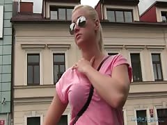 Busty blonde in sunglasses being seduced and fucked in the mouth Thumb