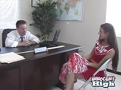 Slender cheerleader is giving a hot head in the office Thumb