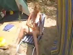 At the campsite she masturbates in front of her husband Thumb