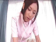 Submissive Asian in nurse uniform taking his small dick in the mouth Thumb