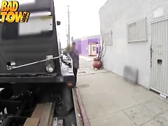 Young busty brunette swallows deep a cock of Bad Tow Truck Driver Thumb