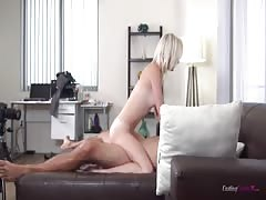 Innocent young blonde is riding on the dick and reaching orgasm Thumb