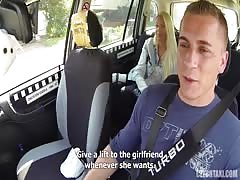 Bleached slut is blowing his dick in the Czech Taxi Thumb