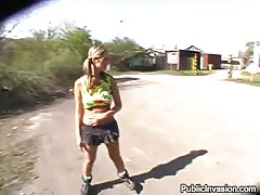 Lovely young slut gives blowjob outdoors for money Thumb