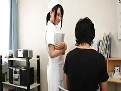 Young Japanese nurse girl sucks and jerks cock Thumb