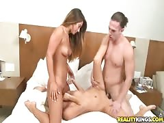 Truly horny girls are having great threesome with muscular guy Thumb