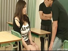 Two Japanese teachers nailing hot chubby coed in the video by Jav HD Thumb